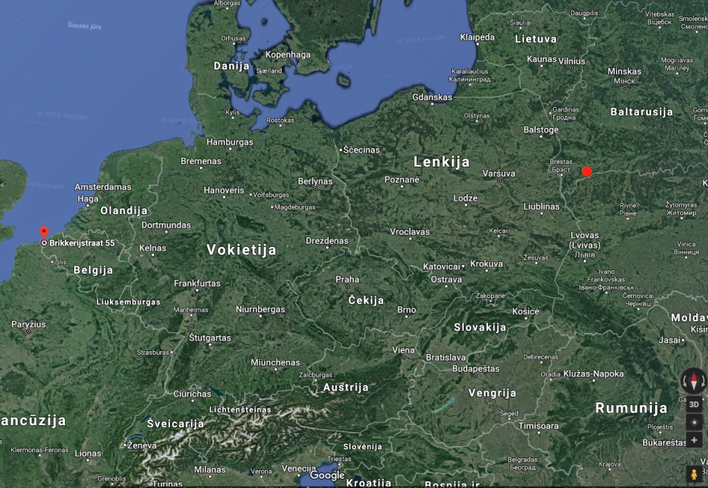 Красный круг обозначает место, откуда прилетела птица (болото Званец в Беларуси) и красный указатель - место, где была поймана птица (западная Бельгия).